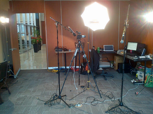 Full studio set up for live interview at City Hall.