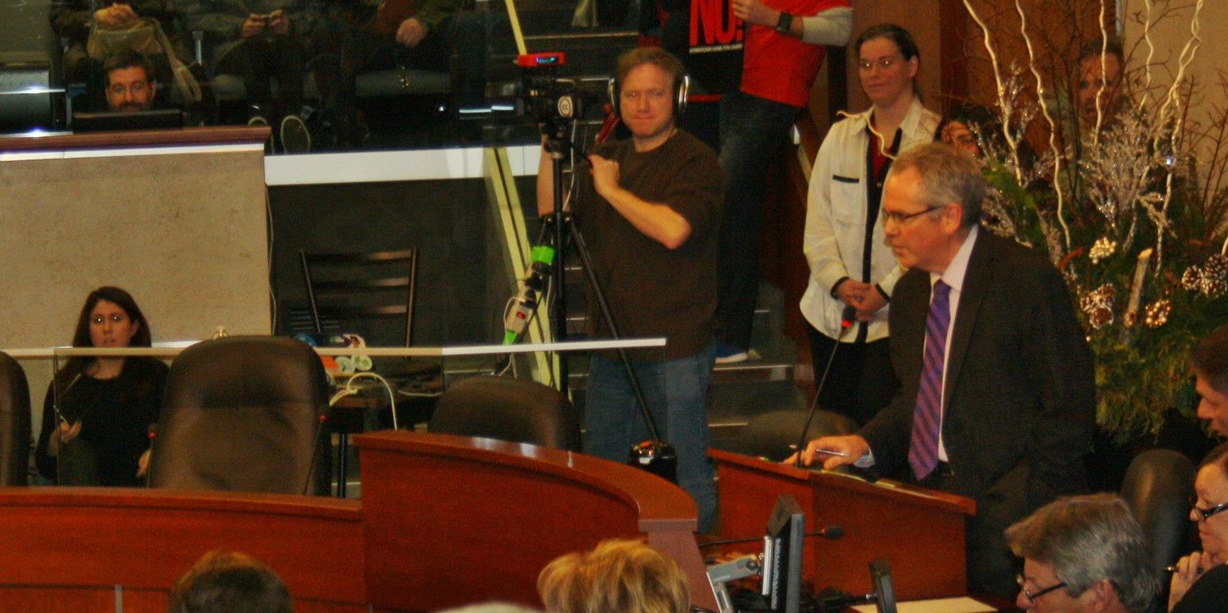 Covering and webcasting a town hall in Council Chambers at City Hall